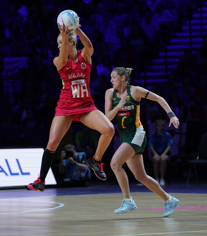 G_Glendinning_SA907462.jpg :: Chelsea Pitman (ENG) in action during Vitality Netball World Cup 2019 at M&S Bank Arena Liverpool United Kingdom on July 18 2019. GlennSports.