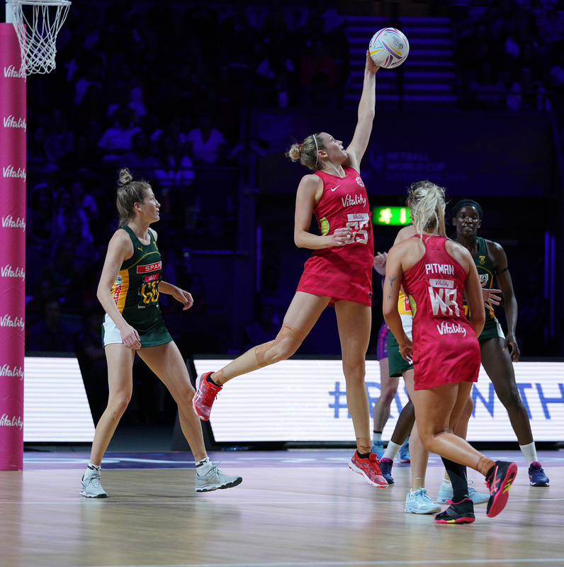 G_Glendinning_SA907467.jpg :: Joanne Harten (ENG) in action during Vitality Netball World Cup 2019 at M&S Bank Arena Liverpool United Kingdom on July 18 2019. GlennSports.