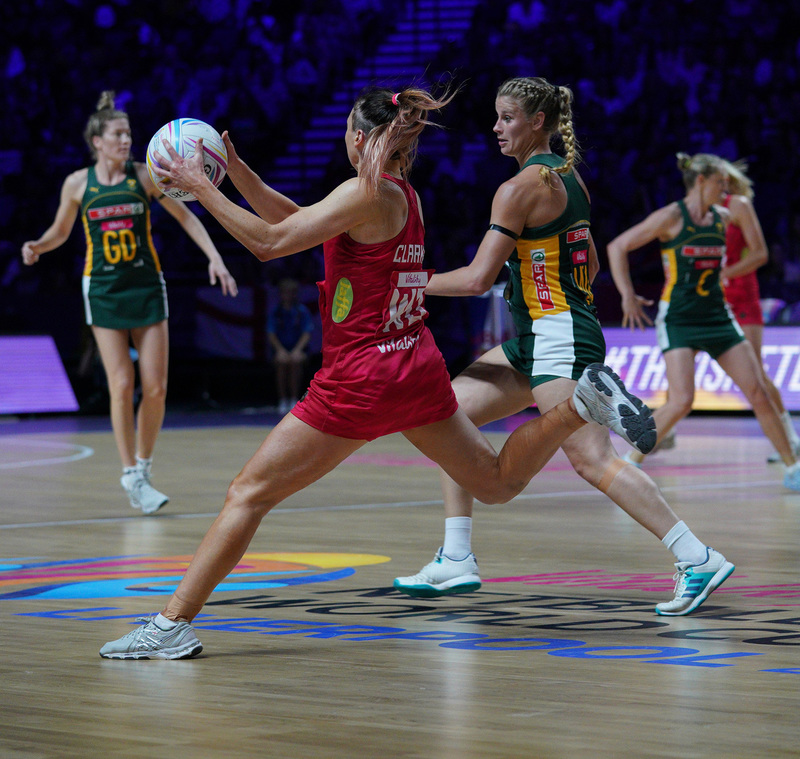 G_Glendinning_SA907479.jpg :: Jade Clarke (ENG) in action during Vitality Netball World Cup 2019 at M&S Bank Arena Liverpool United Kingdom on July 18 2019. GlennSports.