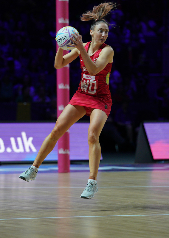 G_Glendinning_SA907526.jpg :: Jade Clarke (ENG) in action during Vitality Netball World Cup 2019 at M&S Bank Arena Liverpool United Kingdom on July 18 2019. GlennSports.