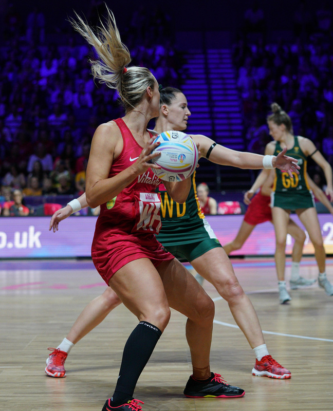 G_Glendinning_SA907532.jpg :: Chelsea Pitman (ENG) in action during Vitality Netball World Cup 2019 at M&S Bank Arena Liverpool United Kingdom on July 18 2019. GlennSports.