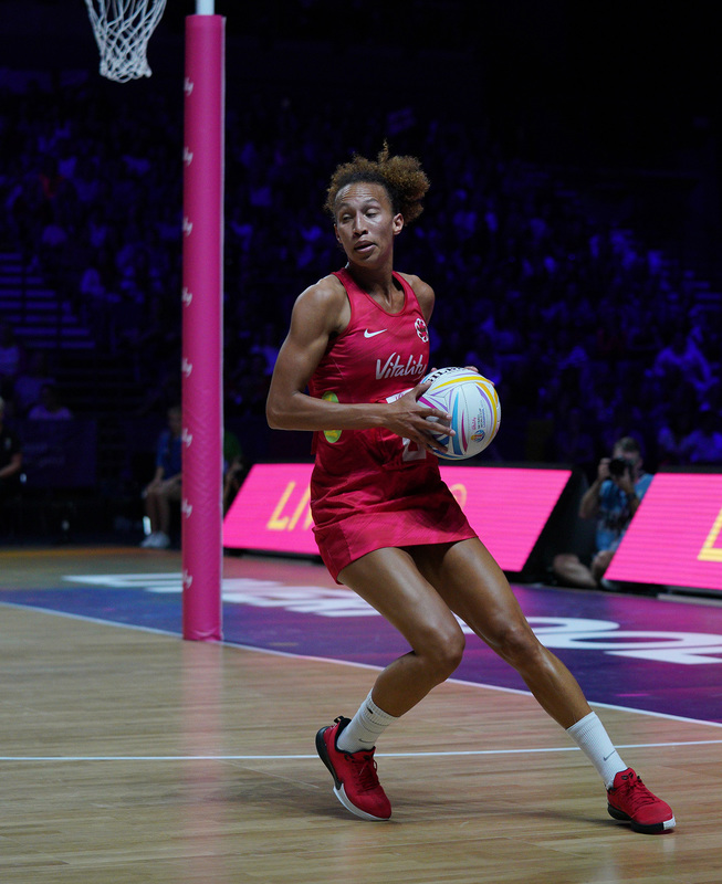 G_Glendinning_SA907555.jpg :: Serena Guthrie (ENG) in action during Vitality Netball World Cup 2019 at M&S Bank Arena Liverpool United Kingdom on July 18 2019. GlennSports.