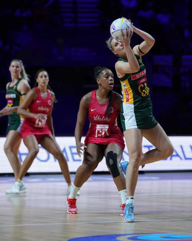 G_Glendinning_SA907559.jpg :: Maryka Holtzhausen (RSA) in action during Vitality Netball World Cup 2019 at M&S Bank Arena Liverpool United Kingdom on July 18 2019. GlennSports.