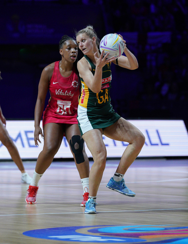 G_Glendinning_SA907560.jpg :: Maryka Holtzhausen (RSA) in action during Vitality Netball World Cup 2019 at M&S Bank Arena Liverpool United Kingdom on July 18 2019. GlennSports.
