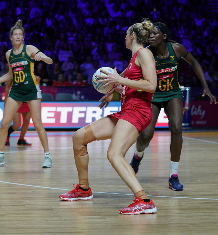 G_Glendinning_SA907569.jpg :: Joanne Harten (ENG) in action during Vitality Netball World Cup 2019 at M&S Bank Arena Liverpool United Kingdom on July 18 2019. GlennSports.