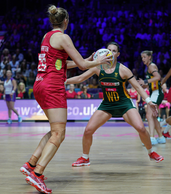 G_Glendinning_SA907582.jpg :: Joanne Harten (ENG) in action during Vitality Netball World Cup 2019 at M&S Bank Arena Liverpool United Kingdom on July 18 2019. GlennSports.