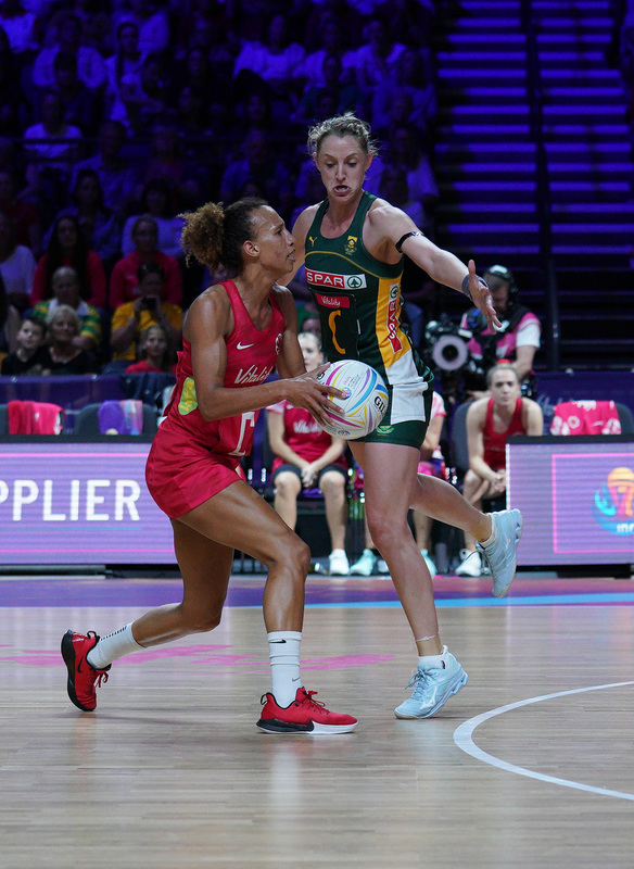 G_Glendinning_SA907600.jpg :: Serena Guthrie (ENG) in action during Vitality Netball World Cup 2019 at M&S Bank Arena Liverpool United Kingdom on July 18 2019. GlennSports.
