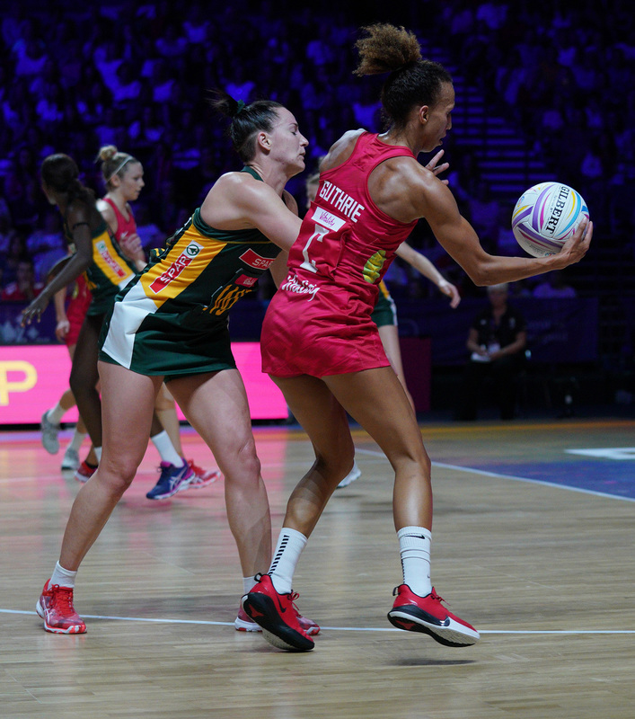 G_Glendinning_SA907613.jpg :: Serena Guthrie (ENG) in action during Vitality Netball World Cup 2019 at M&S Bank Arena Liverpool United Kingdom on July 18 2019. GlennSports.