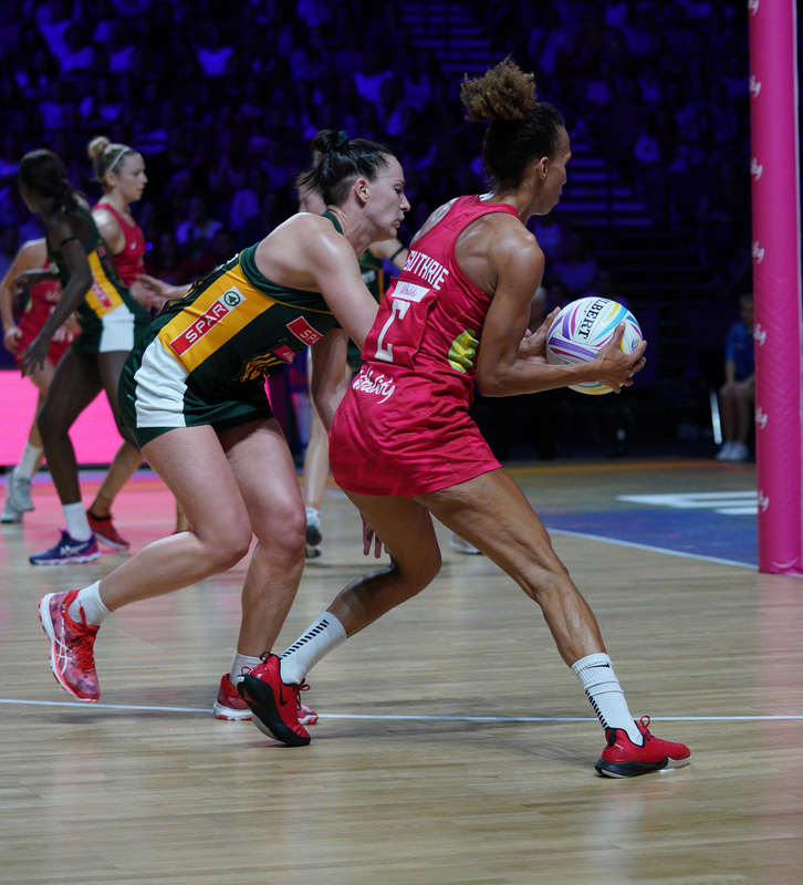 G_Glendinning_SA907614.jpg :: Serena Guthrie (ENG) in action during Vitality Netball World Cup 2019 at M&S Bank Arena Liverpool United Kingdom on July 18 2019. GlennSports.