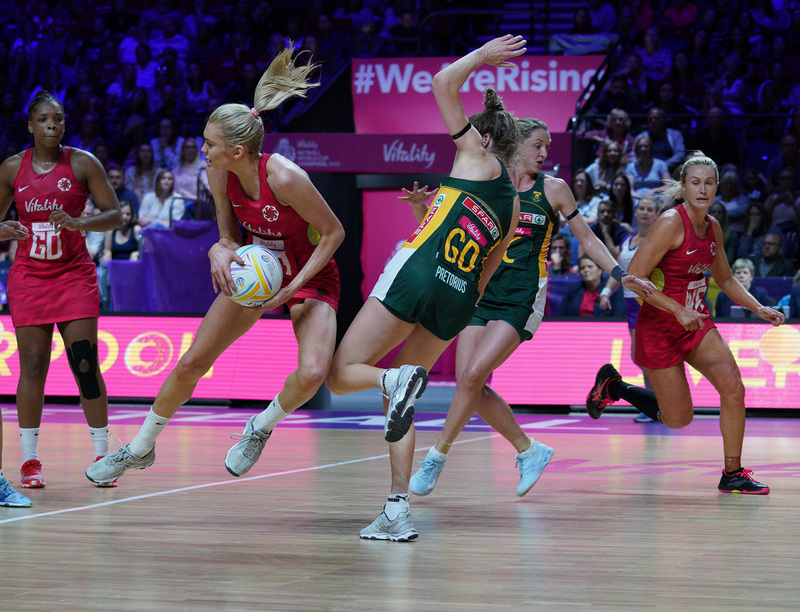 G_Glendinning_SA907637.jpg :: Helen Housby (ENG) in action during Vitality Netball World Cup 2019 at M&S Bank Arena Liverpool United Kingdom on July 18 2019. GlennSports.