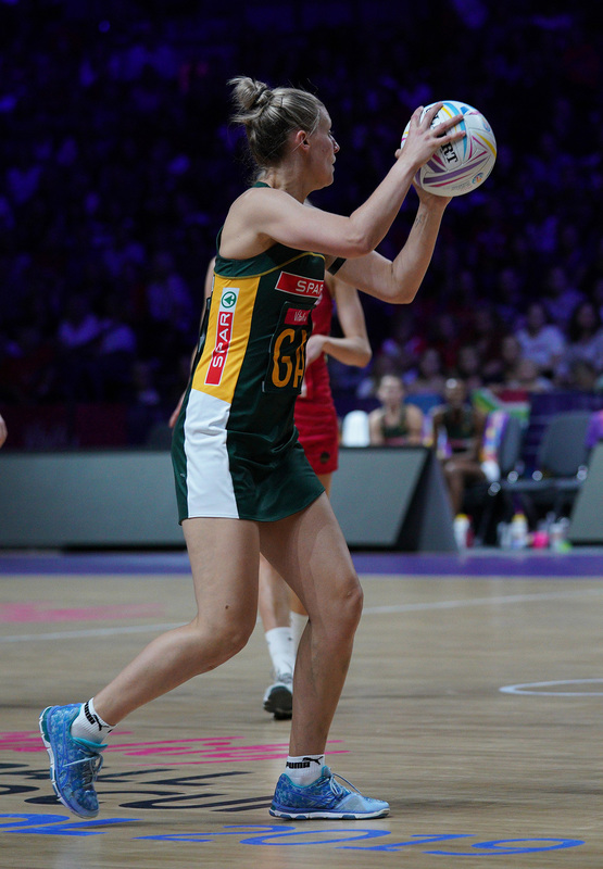 G_Glendinning_SA907651.jpg :: Maryka Holtzhausen (RSA) in action during Vitality Netball World Cup 2019 at M&S Bank Arena Liverpool United Kingdom on July 18 2019. GlennSports.