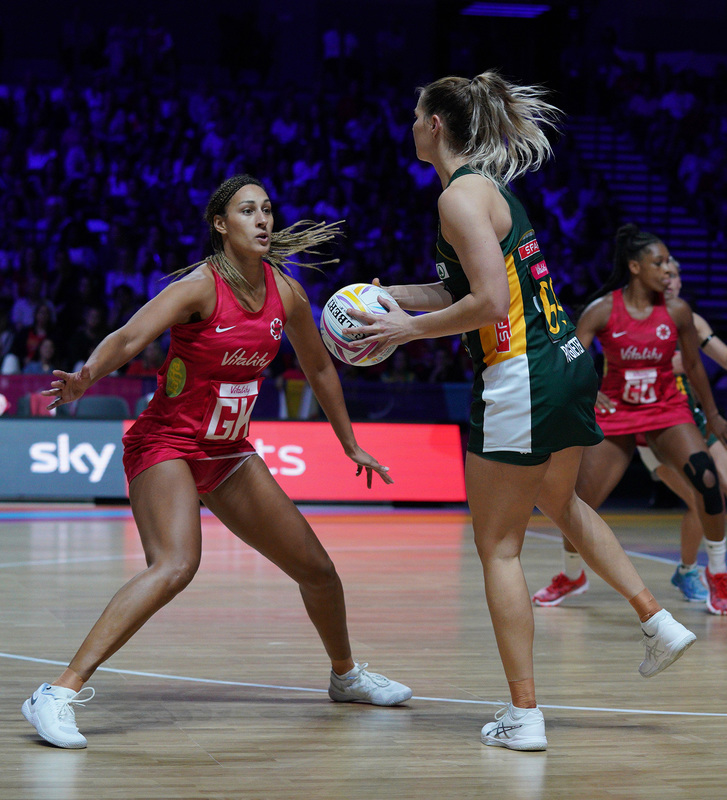 G_Glendinning_SA907667.jpg :: Lenize Potgieter (RSA) in action during Vitality Netball World Cup 2019 at M&S Bank Arena Liverpool United Kingdom on July 18 2019. GlennSports.
