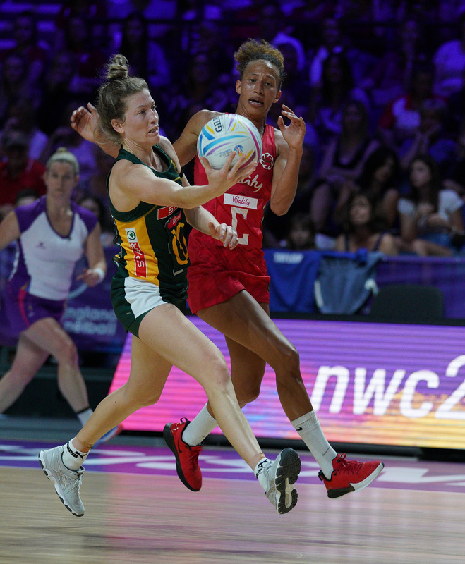 G_Glendinning_SA907679.jpg :: Erin Burger (RSA) in action during Vitality Netball World Cup 2019 at M&S Bank Arena Liverpool United Kingdom on July 18 2019. GlennSports.
