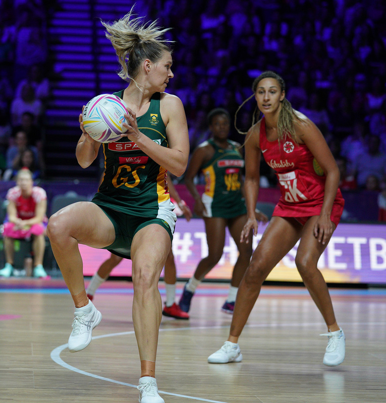 G_Glendinning_SA907685.jpg :: Lenize Potgieter (RSA) in action during Vitality Netball World Cup 2019 at M&S Bank Arena Liverpool United Kingdom on July 18 2019. GlennSports.