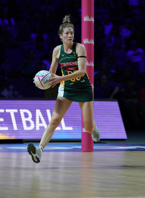 G_Glendinning_SA907698.jpg :: Karla Pretorious (RSA) in action during Vitality Netball World Cup 2019 at M&S Bank Arena Liverpool United Kingdom on July 18 2019. GlennSports.