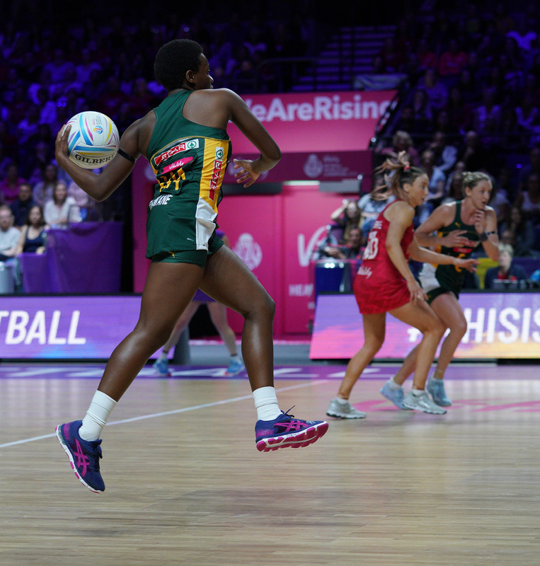 G_Glendinning_SA907744.jpg :: Khanyisa Chawane (RSA) in action during Vitality Netball World Cup 2019 at M&S Bank Arena Liverpool United Kingdom on July 18 2019. GlennSports.
