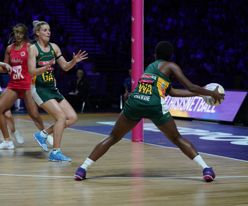 G_Glendinning_SA907747.jpg :: Khanyisa Chawane (RSA) in action during Vitality Netball World Cup 2019 at M&S Bank Arena Liverpool United Kingdom on July 18 2019. GlennSports.