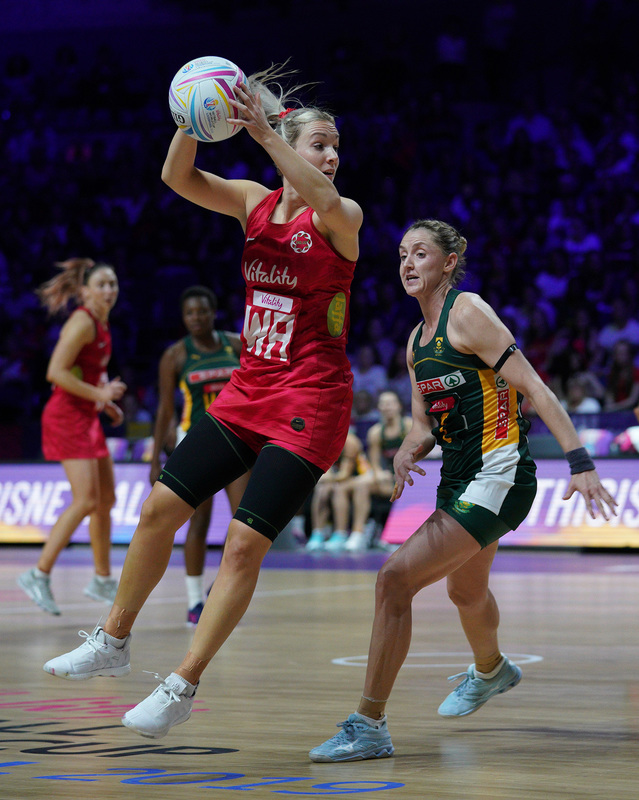 G_Glendinning_SA907781.jpg :: Natalie Haythornwaite (ENG) in action during Vitality Netball World Cup 2019 at M&S Bank Arena Liverpool United Kingdom on July 18 2019. GlennSports.