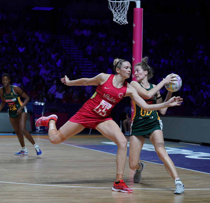 G_Glendinning_SA907796.jpg :: Joanne Harten (ENG) in action during Vitality Netball World Cup 2019 at M&S Bank Arena Liverpool United Kingdom on July 18 2019. GlennSports.