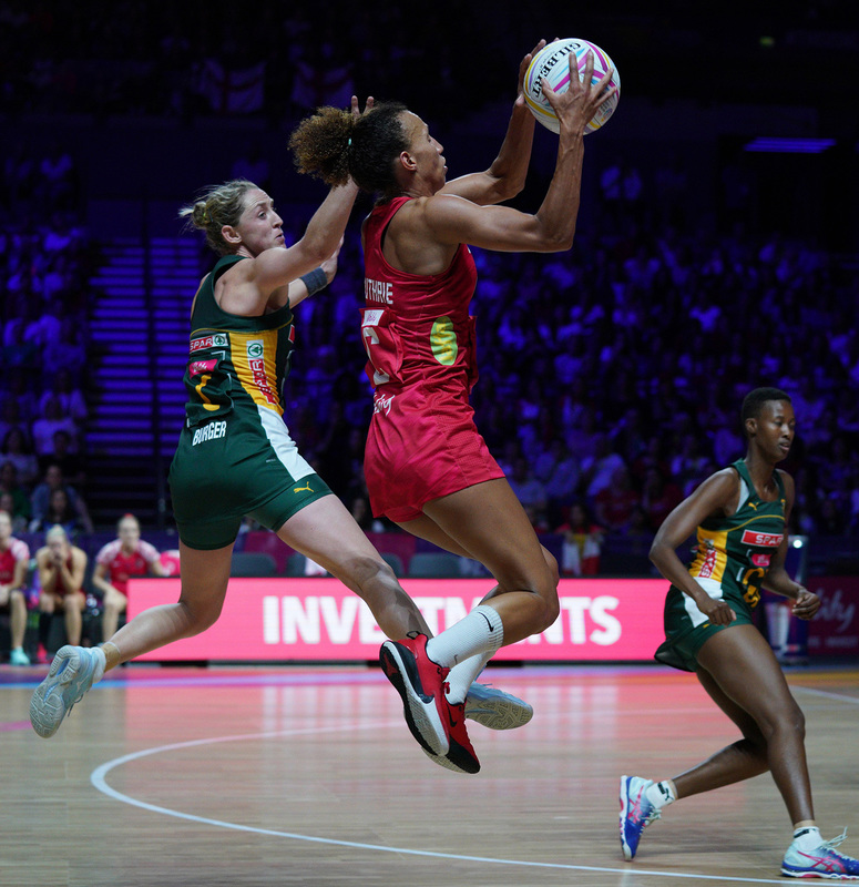G_Glendinning_SA907802.jpg :: Serena Guthrie (ENG) in action during Vitality Netball World Cup 2019 at M&S Bank Arena Liverpool United Kingdom on July 18 2019. GlennSports.