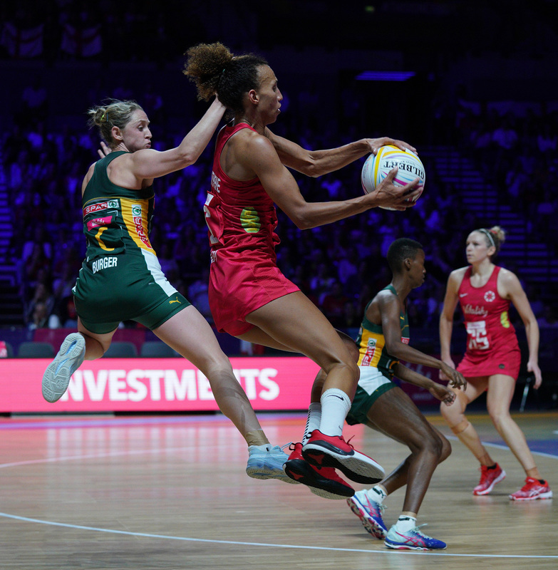 G_Glendinning_SA907803.jpg :: Serena Guthrie (ENG) in action during Vitality Netball World Cup 2019 at M&S Bank Arena Liverpool United Kingdom on July 18 2019. GlennSports.