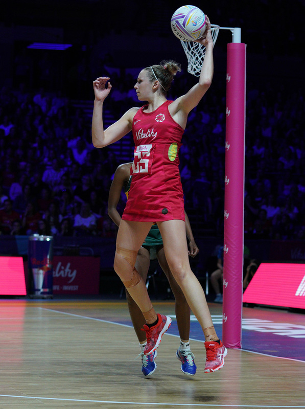 G_Glendinning_SA907855.jpg :: Joanne Harten (ENG) in action during Vitality Netball World Cup 2019 at M&S Bank Arena Liverpool United Kingdom on July 18 2019. GlennSports.