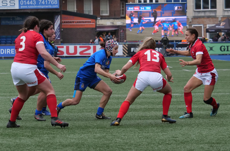 PGG97774.jpg :: Michela Sillari (Italy) in action during the  Womens Six Nations Rugby at Cardiff Arms Park Cardiff United Kingdom on February 02 2020 Graham / GlennSports