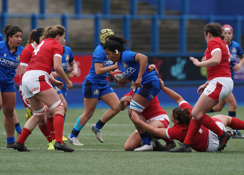 SA900728.jpg :: Giada Franco (Italy) in action during the  Womens Six Nations Rugby at Cardiff Arms Park Cardiff United Kingdom on February 02 2020 Graham / GlennSports