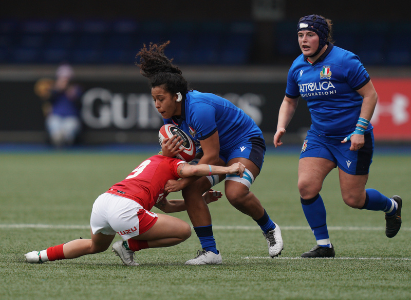 SA900753.jpg :: Giada Franco (Italy) in action during the  Womens Six Nations Rugby at Cardiff Arms Park Cardiff United Kingdom on February 02 2020 Graham / GlennSports