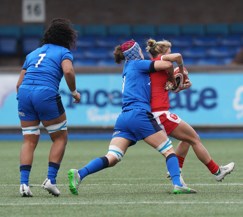 SA900979.jpg :: Keira Bevan (Wales) tackled by Elisa Giordano during the  Womens Six Nations Rugby at Cardiff Arms Park Cardiff United Kingdom on February 02 2020 Graham / GlennSports