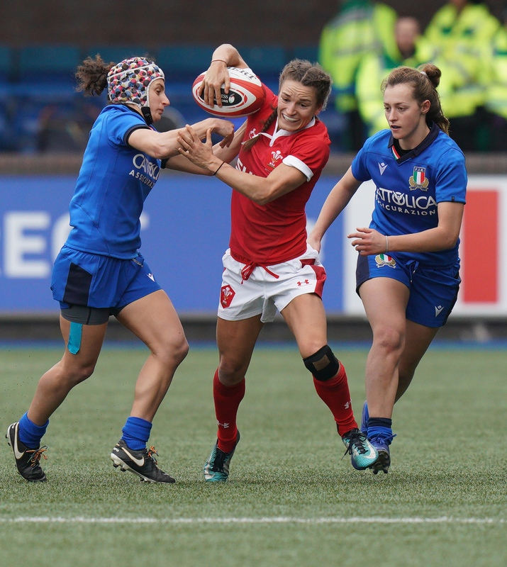 SA900987.jpg :: Jasmine Joyce (Wales) in action during the  Womens Six Nations Rugby at Cardiff Arms Park Cardiff United Kingdom on February 02 2020 Graham / GlennSports