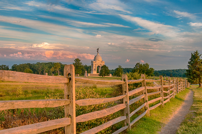UP-0488-2.jpg :: Sunset at the Pa Monument Gettysburg