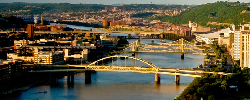 UP-1274.jpg :: Three bridges in Pittsburgh