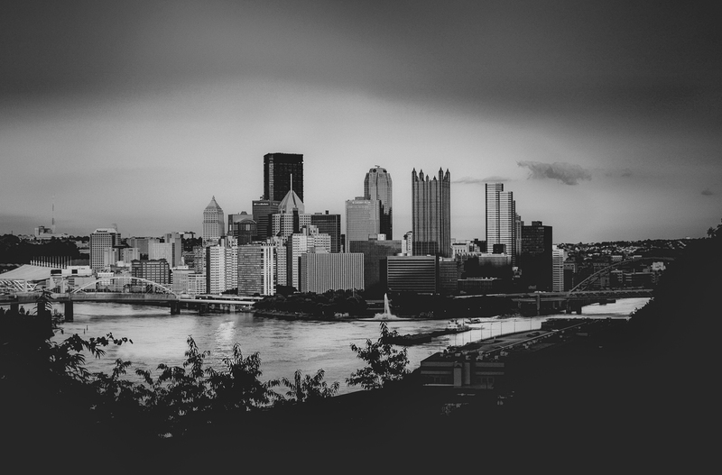 UP-2110902(1).jpg :: Black and white at dusk in Pittsburgh