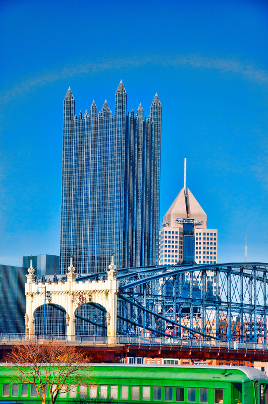 UP-2220(1).jpg :: An image of Smithfield Street Bridge with PPG in Pittsburgh behind.