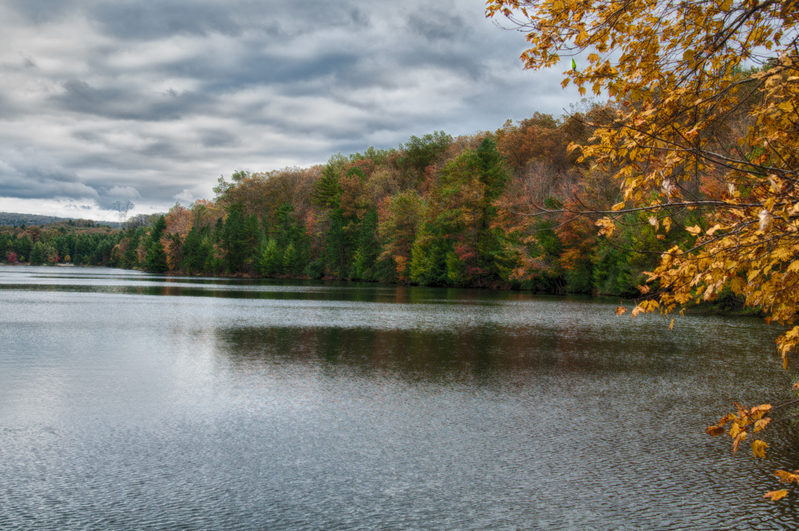 UP-3564-2(1).jpg :: A lake in October in Michaux with fall colors.