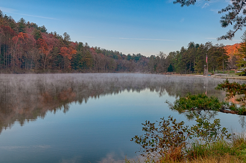 UP-3937(1).jpg :: Along the edge of a lake at dawn with steam rising.