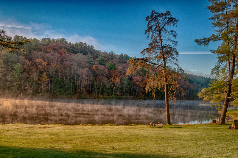 UP-3976(1).jpg :: Mist rising on a mountain lake in October.