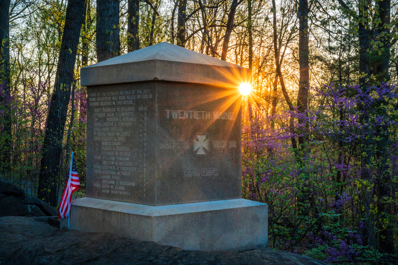 UP6_5184.jpg :: Sunrise on the 20th Maine monument at Gettysburg
