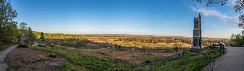 UP6_5205P2.jpg :: Lanoramic from Little Round Top in Gettysburg looking toward the Southwest.