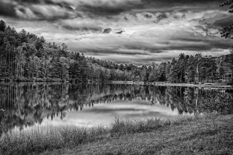UP_3753-2(1).jpg :: A black and white of a lake in the woods