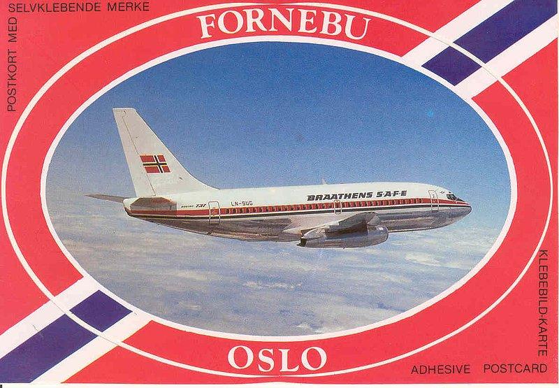 Norway Oslo Fornebu ARPT 1 sticker.jpg :: Fornebu, Oslo, Norway. Sticker posctard.