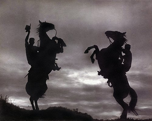 LANDSCAPES And SCENICS 8 028LR Dramatic Rearing Horses In Silhouette
