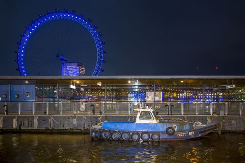Blue Boat in front of the London Eye - London.jpg