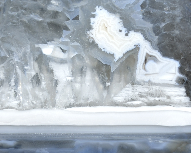 Ice Castle.jpg :: An icy shoreline in a geode from Oregon.