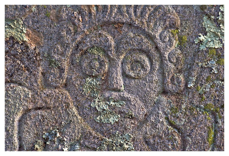 1700s grave stone.jpg :: Stonington - The intricate carving of a 18th century headstone .