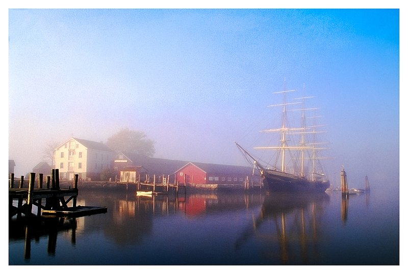 Conrad and fog.jpg :: Mystic - The Joseph Conrad and the waterfront of the Mystic Seaport is revealed through the morning fog.