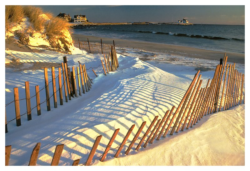 East Beach.jpg :: Watch Hill R.I. - A snow drift is captured by snow fencing at East Beach.