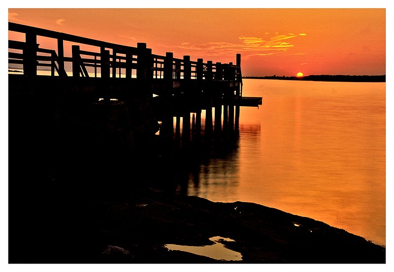 Lords Point.jpg :: Stonington - A pier at Lords Point is silhouetted by the setting sun.