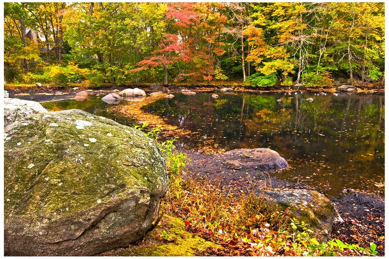 Masons-Island-Pond---Autumn.jpg :: Mystic .. Mason's Island pond on a rainy autumn day.